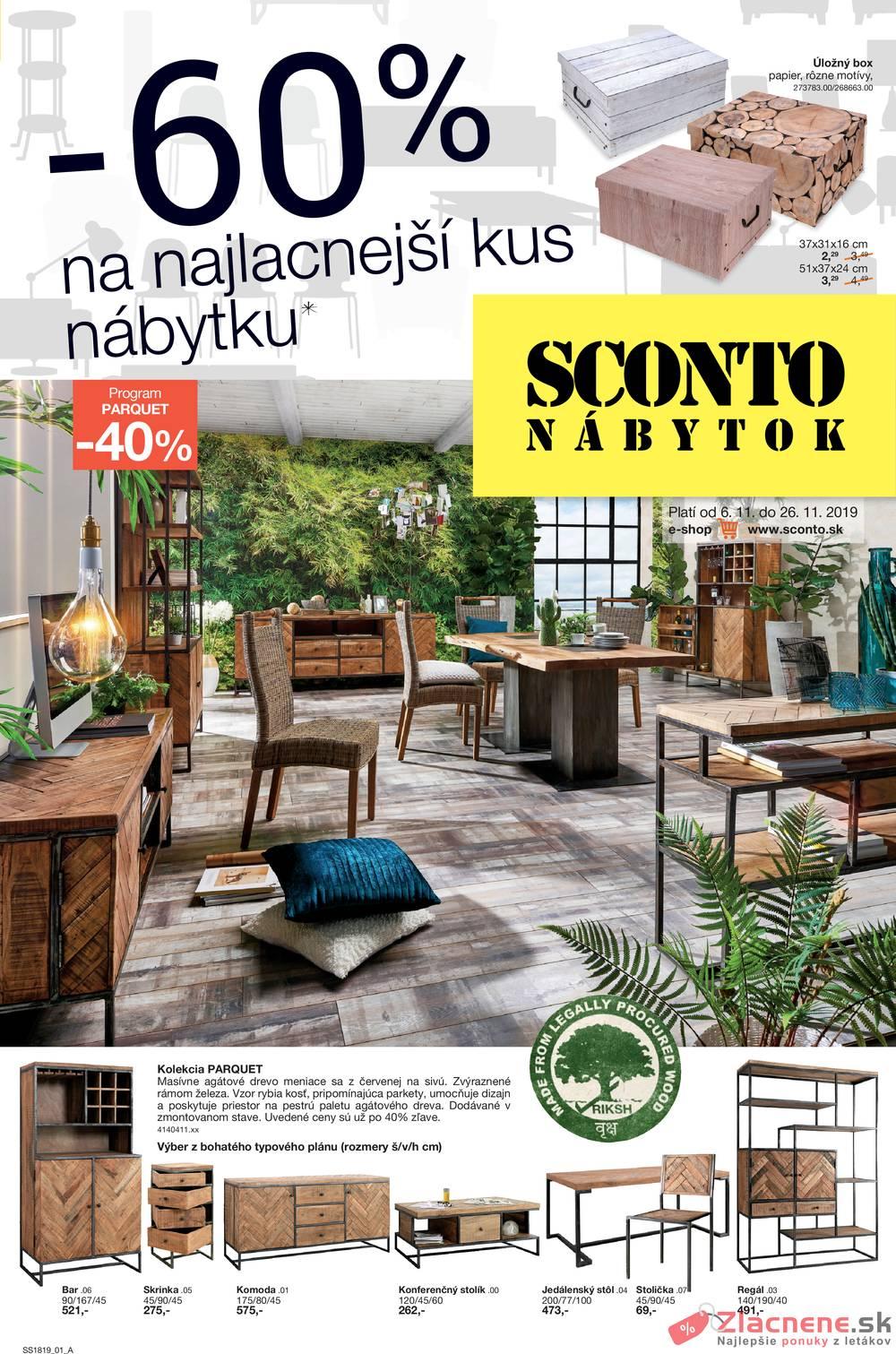 Leták Sconto nábytok - Sconto nábytok od 6.11. do 26.11.2019 - strana 1