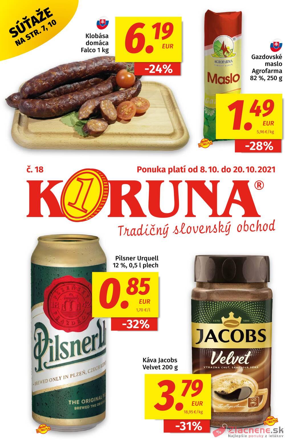 Leták KORUNA - Potraviny KORUNA od 8.10. do 20.10.2021 - strana 1