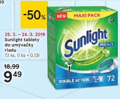 Sunlight tablety do umývačky riadu, 72 ks